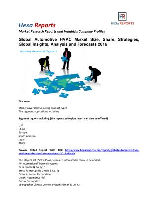 Automotive HVAC Market by Manufacturers, Regions, Type and Application, Forecast to 2021