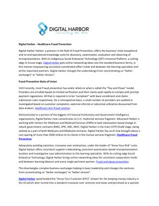 Digital Harbor - Healthcare Fraud Prevention