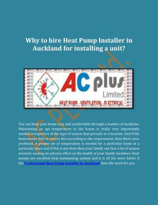 Why to hire Heat Pump Installer in Auckland for installing a unit