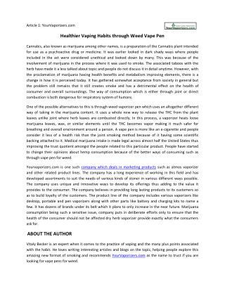 Healthier Vaping Habits through Weed Vape Pen
