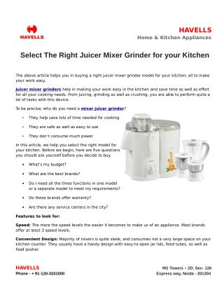 Select The Right Juicer Mixer Grinder for your Kitchen