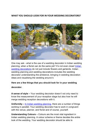 What You Should Look For In Your Wedding Decorators