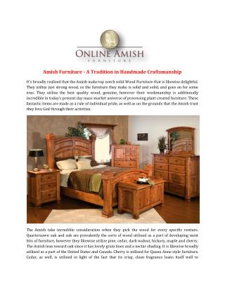 Amish Furniture - A Tradition in Handmade Craftsmanship