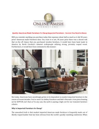 Quality American Made Furniture Vs Cheap Imported Furniture - Secrets You Need to Know