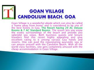 HOTEL IN GOA - GOAN VILLAGE BEACH RESORT