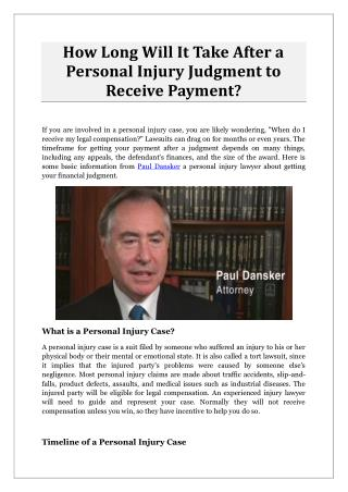 How Long Will It Take After a Personal Injury Judgment to Receive Payment?