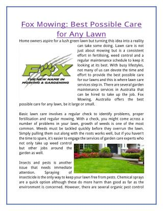 Fox Mowing: Best Possible Care for Any Lawn