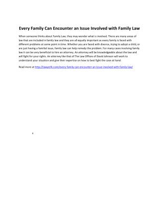 Every Family Can Encounter an Issue Involved with Family Law