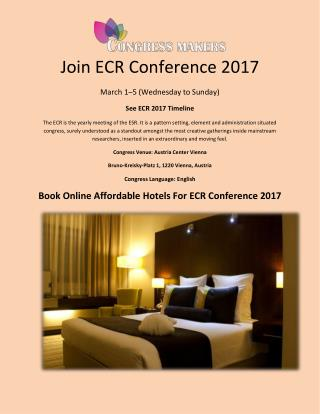 Join ECR Conference 2017 in Vienna, Austria
