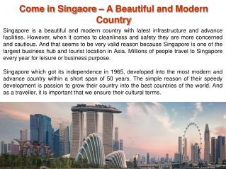 Let's Visit Beautiful and Modern Country with Singapore Tour
