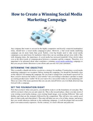 How to Create a Winning Social Media Marketing Campaign