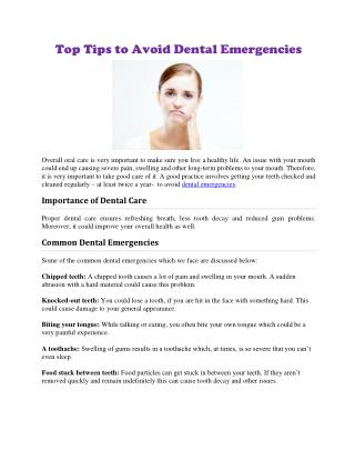 Top Tips to Avoid Dental Emergencies