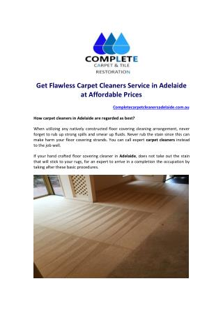 Get Flawless Carpet Cleaners Service in Adelaide at Affordable Prices