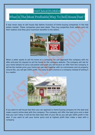 What Is The Most Profitable Way To Sell House Fast?