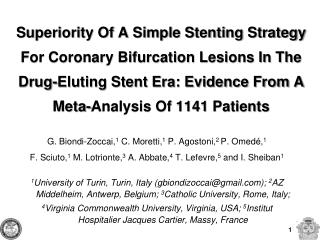 Superiority Of A Simple Stenting Strategy For Coronary Bifurcation Lesions In The Drug-Eluting Stent Era: Evidence From