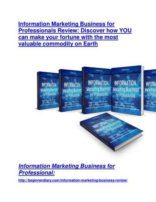 Information Marketing Business TRUTH review and EXCLUSIVE $25000 BONUS