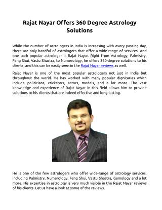 Rajat Nayar Offers 360 Degree Astrology Solutions