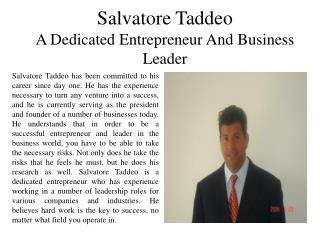 Salvatore Taddeo - A Dedicated Entrepreneur and Business Leader