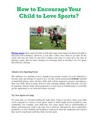 How to Encourage Your Child to Love Sports
