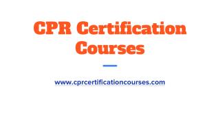 Online CPR Certification Courses