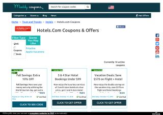 Hotels.com Coupons, Coupon Codes, Promo Codes