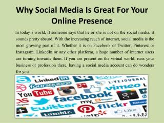 Why Social Media Is Great For Your Online Presence