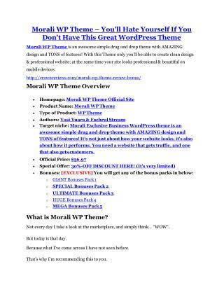 Morali WP Theme review & Morali WP Theme (Free) $26,700 bonuses