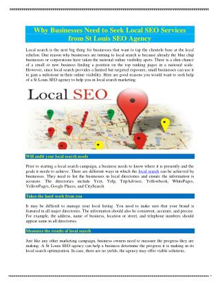 Local St Louis SEO Agency