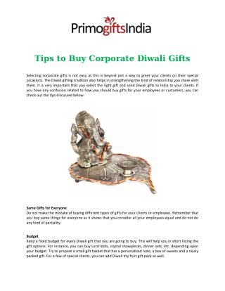 Tips to Buy Corporate Diwali Gifts