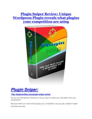 Plugin Sniper review demo and premium bonus