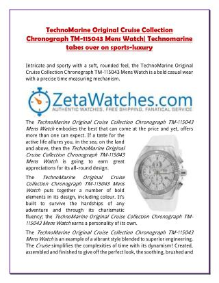 TechnoMarine Original Cruise Collection Chronograph TM-115043 Mens Watch| Technomarine takes over on sports-luxury