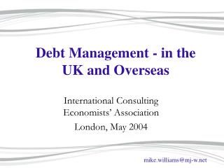 Debt Management - in the UK and Overseas
