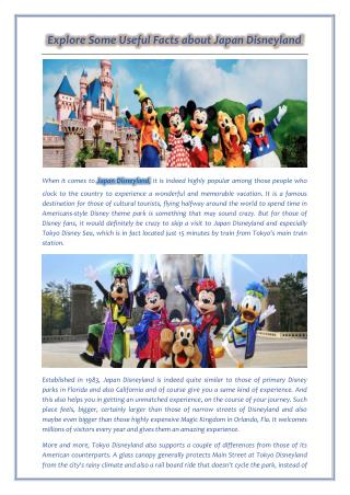 Explore Some Useful Facts about Japan Disneyland
