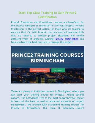 Start Top Class Training to Gain Prince2 Certification
