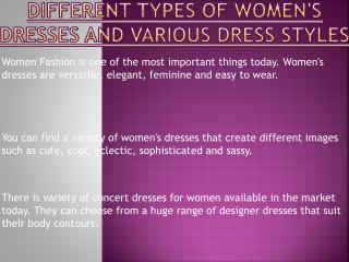 Women's Dresses and Various Dress Styles