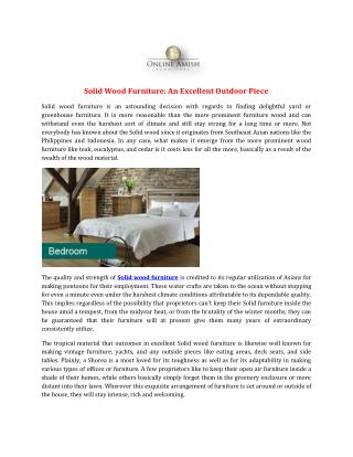 Solid Wood Furniture: An Excellent Outdoor Piece