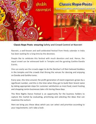 Classic Rope Posts- ensuring Safety and Crowd Control at Navratri