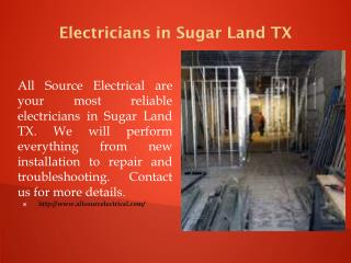 Electricians in Sugar Land TX