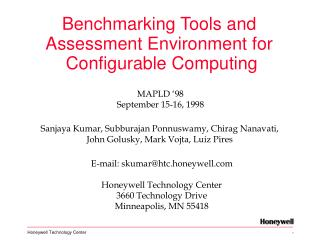 Benchmarking Tools and  Assessment Environment for  Configurable Computing