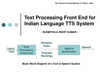 Text Processing Front End for  Indian Language TTS System