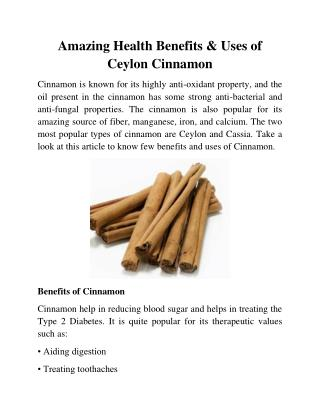 Amazing Health Benefits & Uses of Ceylon Cinnamon