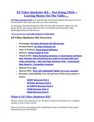 EZ Video Marketer RX review & bonus - I was Shocked!