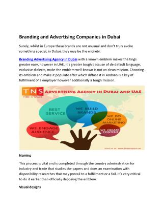 Branding and Advertising Companies in Dubai