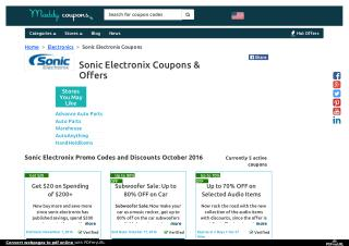 Sonic Electronix Coupons, Coupon Codes, Promo Codes