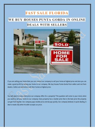 We Buy Houses Punta Gorda In Online Deals With Sellers