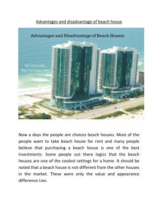 advantage and disadvantages of taking beach house