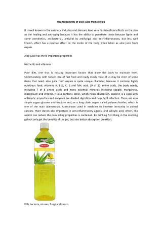 Health Benefits of aloe juice from okyalo