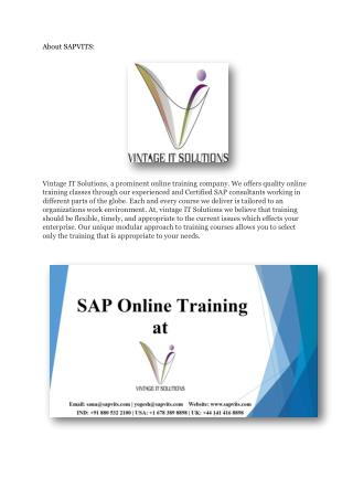SAPVITS SAP Online training material | SAP Course | Learn SAP
