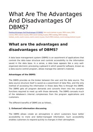 What are the advantages and disadvantages of DBMS?
