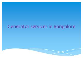 Generators Services in Bangalore